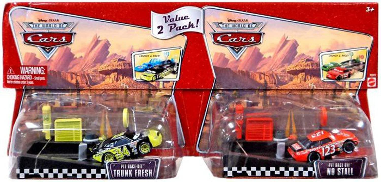 Disney Pixar  CARS  THE WORLD OF CARS  DieCast 1 55  PIT RACEOFF  2PACK  TRUNK FRESH & NO STALL  OVP