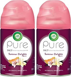 Air Wick Pure Freshmatic 2 Refills Automatic Spray, Summer Delights, Air Freshener, Essential Oil, Odor Neutralization, 5.89 oz, Pack of 2 (Packaging May Vary)