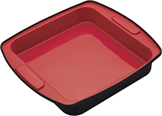 KitchenCraft MasterClass smart silikon fyrkantig tårta burk och rostbricka, 23 cm Enda Röd/svart
