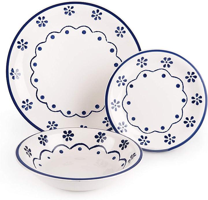 excelsa old cottage servizio piatti 18 pezzi ceramica bianco e blu b00dyteoz6