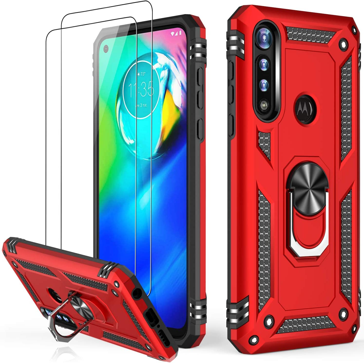 LUMARKE Moto G Power Case with Glass Screen Protector(2 Pack),Pass 16ft Drop Test Military Grade Heavy Duty Cover with Magnetic Kickstand,Protective Phone Case for Moto G Power Red