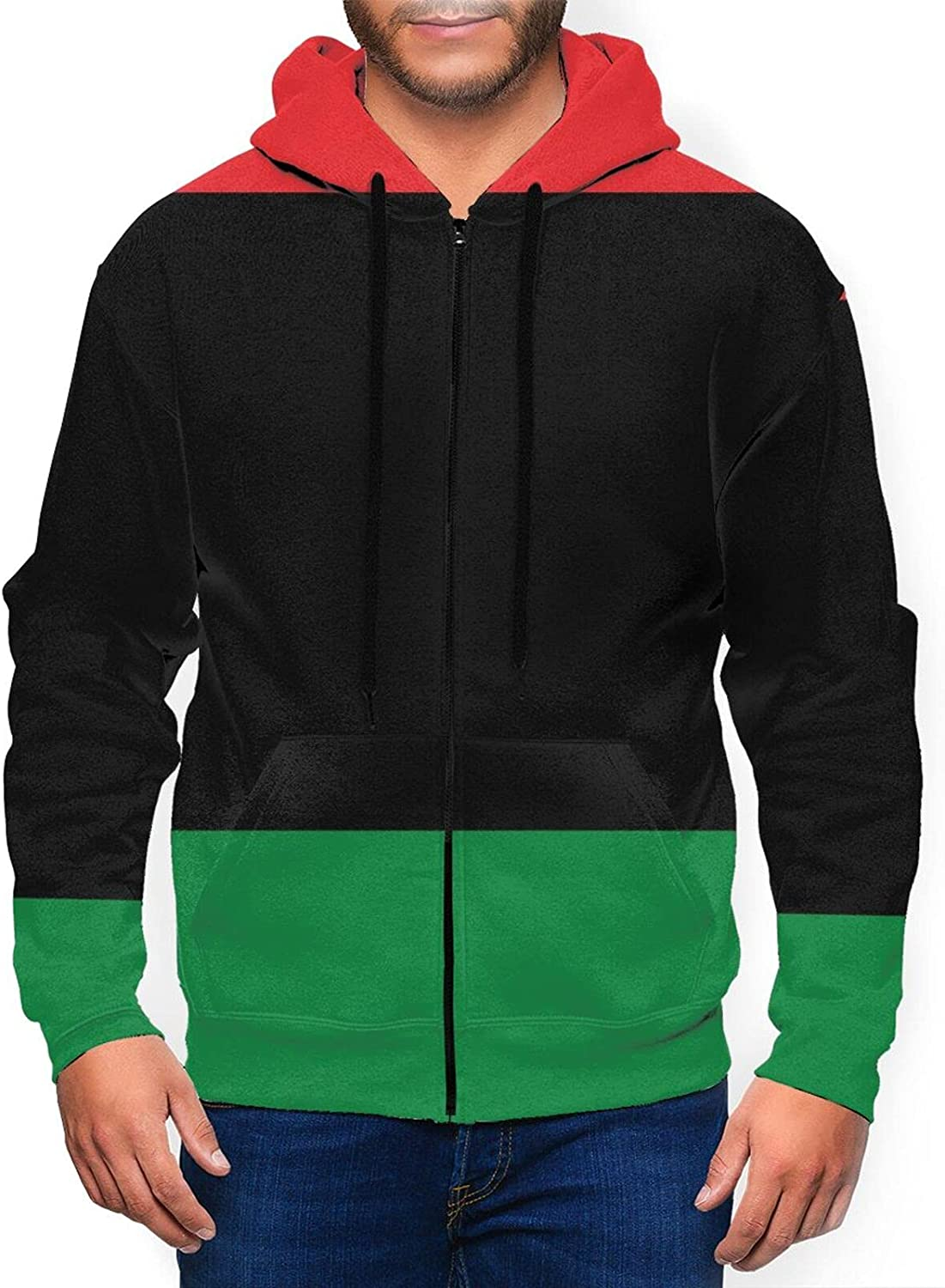 Hello New products Directly managed store world's highest quality popular Gorgeous Men'S Hoodie African Flag Up Fit Slim Stripes Zip