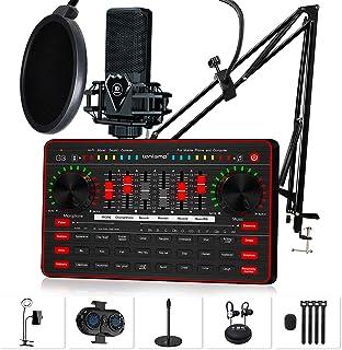 مجموعه کارت صدا میکروفون پادکست ، میکسر صوتی زنده G3 ، میکروفن M8 کندانسور ، پایه بازوی میکروفون ، چراغ زنگ با گیره تلفن برای پخش ، پخش ، Tiktok ، YouTube در تلفن همراه یا رایانه