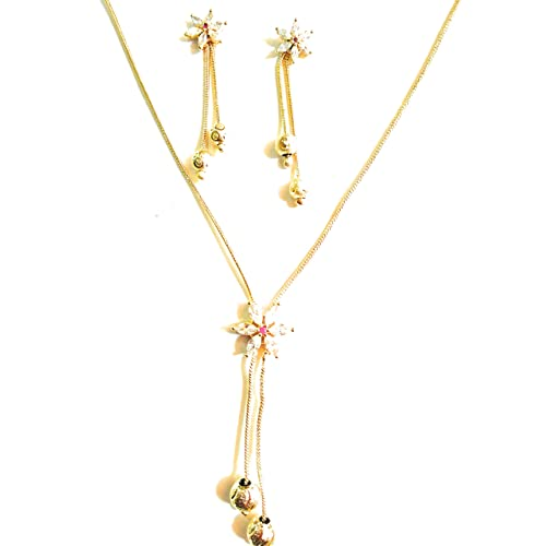 TRENDEST Fashion Gold Plated American diamond Pendant with Chain and Earring for Women