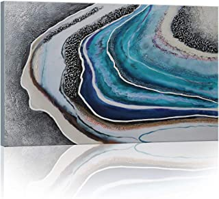 SDYA Hand Painted Blue Geode Abstract Picture Wall Art Painting Canvas Art 24 inches X 36 inches Hang Either Tall or Wide