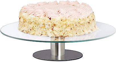 Relaxdays draaibare taartplateau, voet, taartplaat om te decoreren, taarten draaiplateau voor cake, Ø 30 cm, transparant