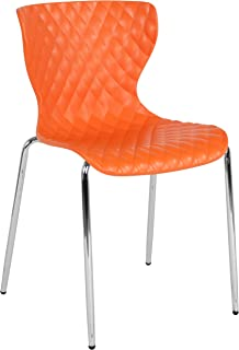 Flash Furniture Lowell Contemporary Design Orange Plastic Stack Chair