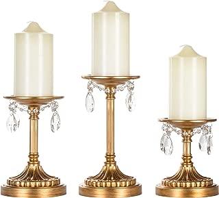 Amalfi Décor Victoria 3-Piece Antique Gold Pillar Candle Holder Set, Crystal-Draped Metal Candlestick Accent Stand