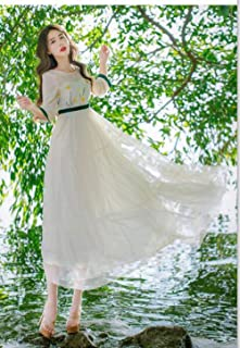 ABDKJAHSDK High Quality Summer New Round Neck Floral Embroidery Ladies Long Chiffon Dress