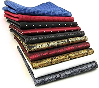 AVANTMEN 10 Pcs Men's Pocket Squares Set Assorted Woven Handkerchief