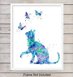 Watercolor Cat Wall Art Poster Print - Modern Home or Apartment Decor and Room Decorations for Bedroom, Girls, Baby, Kids Room or Nursery - Great Gift for Kitty Lovers - 8x10 Unframed Photo
