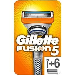Gillette Fusion5 Maquinilla de Afeitar Hombre + 6 Cuchillas de Recambio