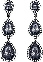 EleQueen Women's Black-tone Austrian Crystal Teardrop Pear Shape 2.5 Inch Long Earrings