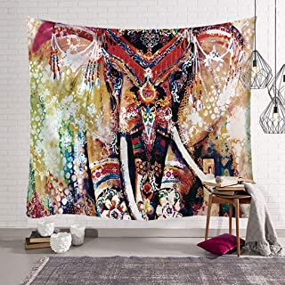 KHTBB Elephant Mandala Tapestry Indian Bohemian Hippie Psychedelic Home Bedspread Decoration Wall Hanging Boho Cloth Curta...
