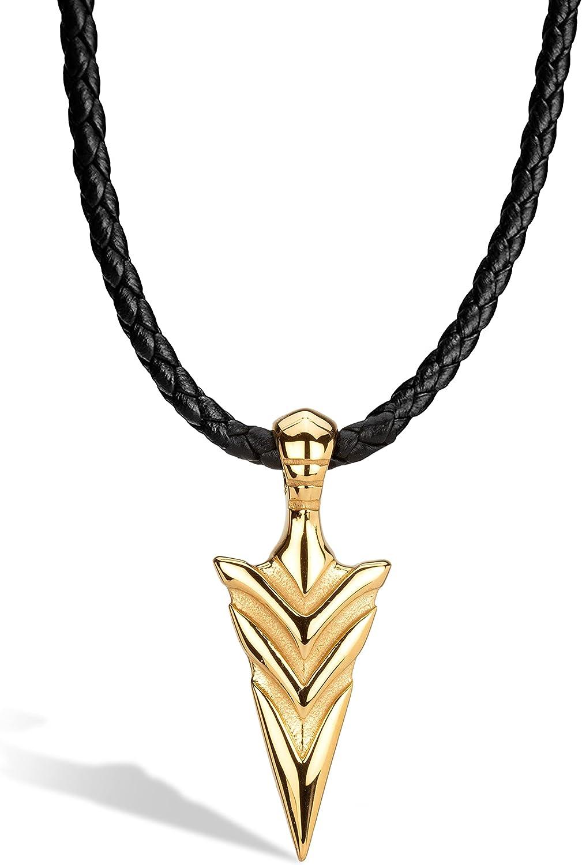 SERASAR - Collar de Cuero [Arrow] para Hombre - con Colgante - con Joyero - Idea de Regalo para Hombre