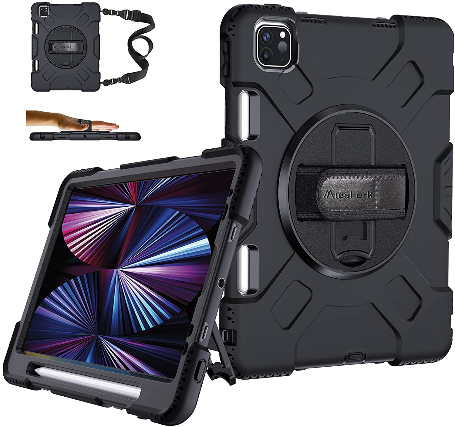 iPad Pro 11 Case 2021 3rd Generation w/ Pencil Holder - Military Grade [15ft Drop Tested] Shockproof Protective Silicone Cover for iPad 11 Inch 2nd Gen 2020/ 2018 - Stand+ Handle+ Shoulder Strap Black