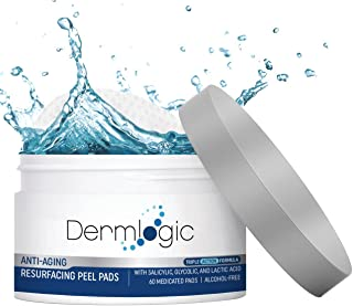Anti Aging Resurfacing Peel Pads - Contains Salicylic, Glycolic, & Lactic Acid for Face & Body Including Hyaluronic Acid, Witch Hazel, Green Tea & Aloe Vera. Exfoliates to Correct Dark Spots & Scars.