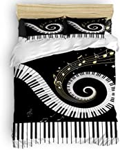 Duvet Cover Set Printed 4 Pcs Bedding Set Queen Size Include Duvet Cover, Bed Sheet, Pillow Shams Black and White Piano Musical Note Pattern Ultra Soft Comforter Quilt Cover Set for Kids/Adults