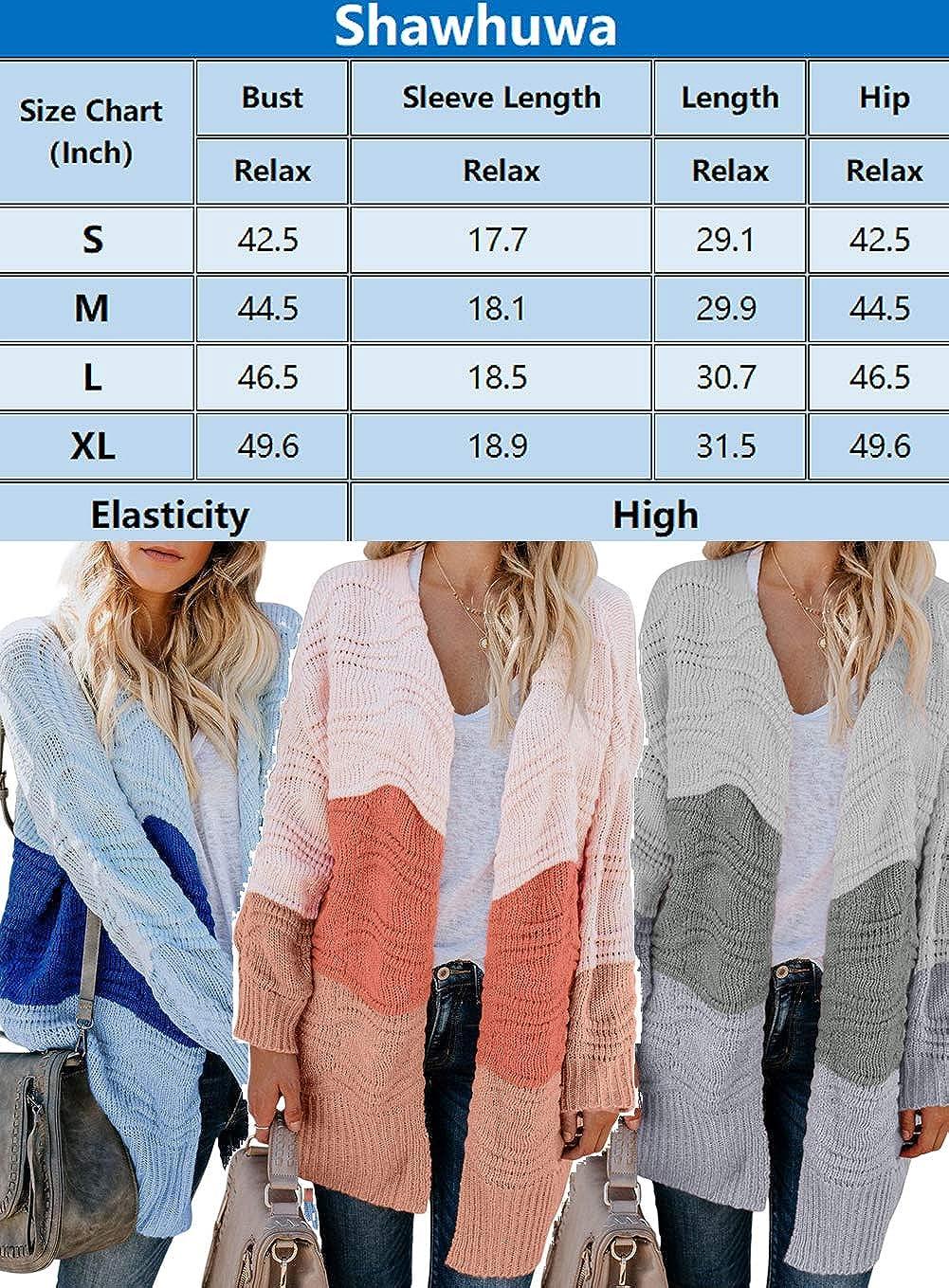 Shawhuwa Womens Plus Size Open Front Knit Long Cardigan Sweater Pockets