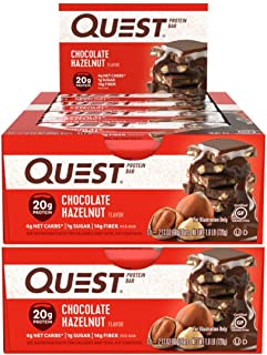 Quest Nutrition Protein Bar Chocolate Hazelnut. Low Carb Meal Replacement Bar with 20g Protein. High Fiber, Soy-Free, Gluten-Free (24 Count)