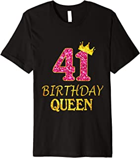 41 Years Old Birthday Queen Girl Shirt 41st Birthday Pink Premium T-Shirt