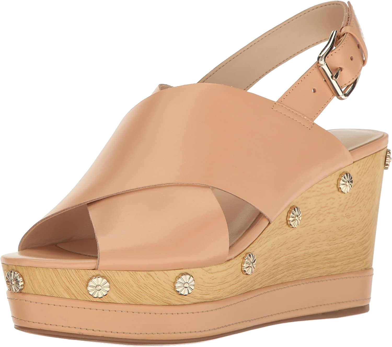 Nine West Womens Vanessa Leather Wedge Sandal
