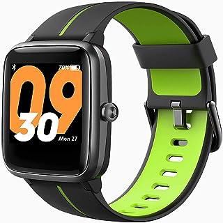 JessFash Deporte Reloj inteligente Actividad Rastreador de ejercicios Monitor de ritmo cardíaco y sueño Reloj inteligente Podómetro impermeable Bluetooth Contador de pasos Cronómetro Reloj inteligente
