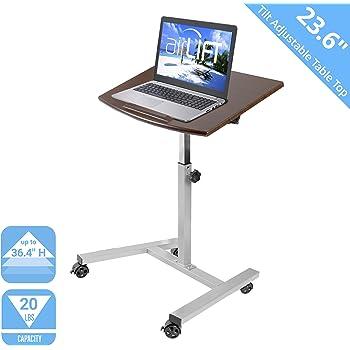 "Seville Classics 23.6"" Tilting Height Adjustable Mobile Laptop Computer Desk Cart with Stopper Ledge Ergonomic Table, Walnut"
