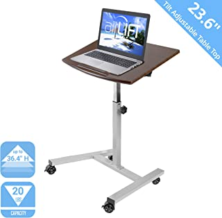 Seville Classics Tilting Mobile Laptop Computer Desk Cart with Stopper Ledge Height-Adjustable from 23.6