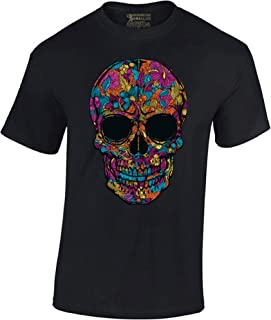 Men's Black Flower Sugar Skull T-Shirt Day of The Dead Shirt