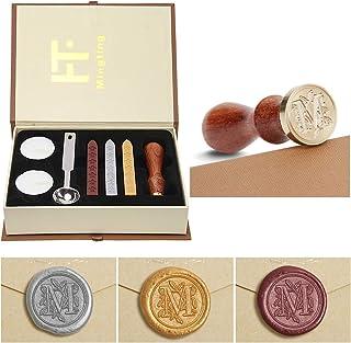 Ensemble de cire à cacheter PUQU, lettres initiales Vintage A-Z Alphabet Badge joint timbre Kit cire ensemble boîte-cadeau...