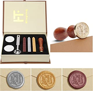 Wax Seal Stamp Kit,Mingting Vintage Wax Stamp Seal Kit Initial Letters Alphabet (M)