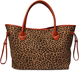 Oversized Women Canvas Casual Tote Bag White Cheetah Print Handbag with Faux Leather Handle (Light Brown)