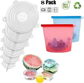 QYY 6 Tapas de Silicona EláSticas,2 Bolsa de conservación de Alimentos de Silicona, Reutilizables, Almacenamiento de Alimentos