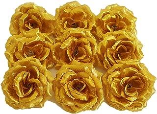 Eternal Blossom Silk Rose Flower Head, 20PCS for Hat Clothes Album Decoration, Wedding Decoration (Gold)
