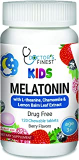 Doctors Finest 1mg Melatonin Chewables for Kids – Drug Free – Vegetarian – GMO Free & Gluten Free – Great Tasting Berry Fl...