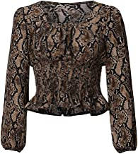 Sanyyanlsy Women's Daily Wear Long Sleeve Ruched Square Neck T-Shirt Fashion Slim Snake Print Blouse Sexy Crop Tops