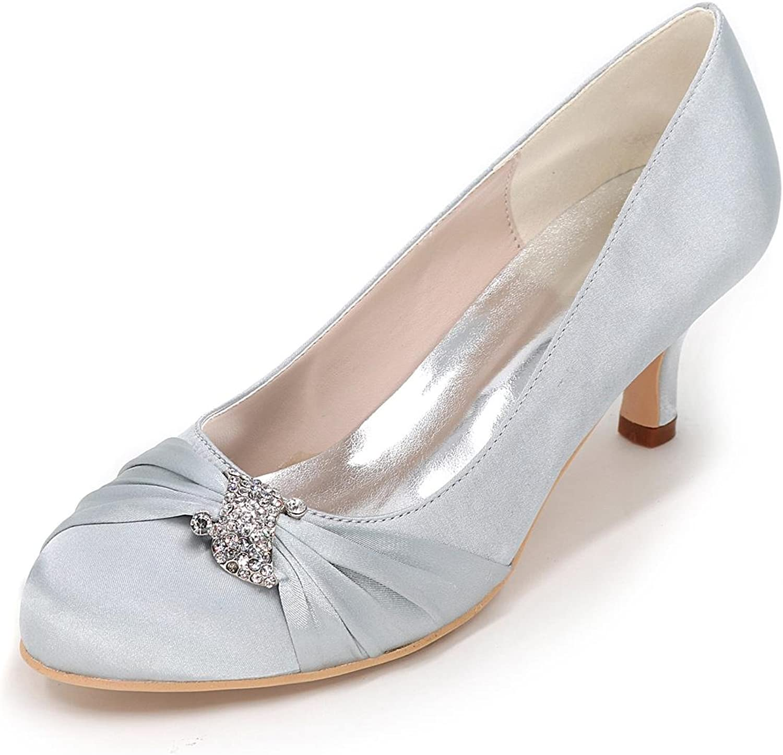L@YC Women's Heels Spring Wedding Party Fall Wedges Heels Round Toe Silk Wedding Party & Evening