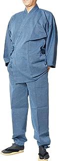 作務衣 日本製 高級-小柄刺し子織作務衣 綿100% S~LL-1055