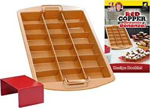 Red Copper Brownie Bonanza Pan by Bulbhead, Includes Recipe Guide