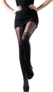 ZIGGY Two Thickness Tights with 2 Horizontal Stripes Above the Knee, Sizes S-L, 1 Pair, Black