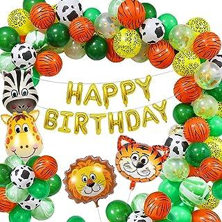 Décoration de fête d'anniversaire en forme d'animaux de la jungle pour enfants, ballons en latex avec ballons animaux de l...