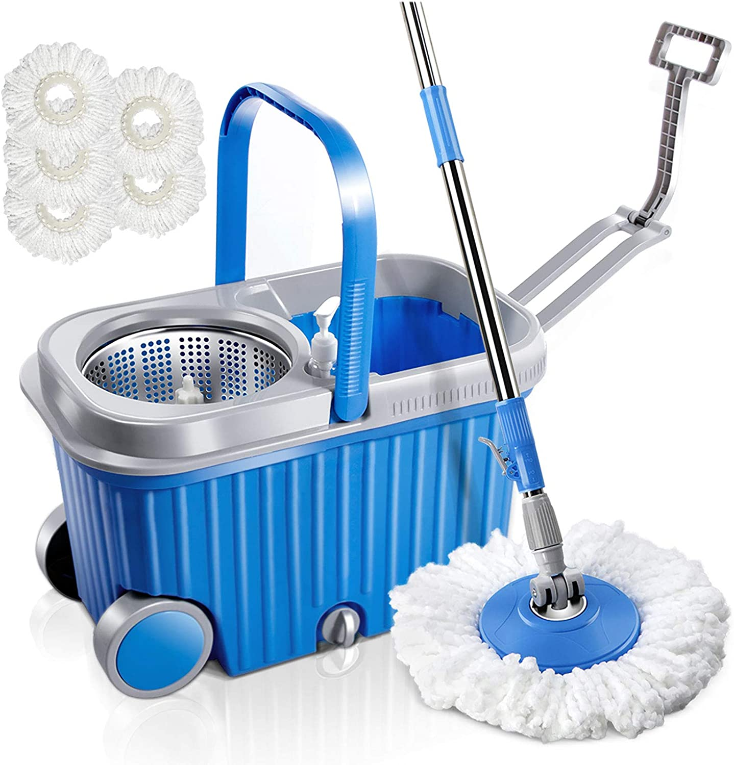 MASTERTOP Spin Mop Bucket with Wringer Set, Floor Cleaning Supplies, Extended Stainless Steel Handle, 5 Microfiber Replacement Mop Head Refills, 2 Wheels for Household Cleaning, Hardwood Floor Tiles: Kitchen & Dining