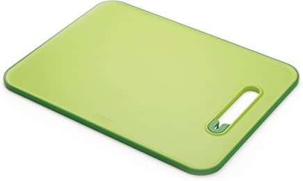 Joseph Joseph Chopping Board with Integrated Knife Sharpener, Large, Slice and Sharpen, Green