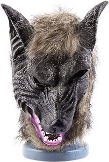 mymerlove Latex Animal Wolf Head with Hair Mask Fancy Dress Costume Scary Halloween