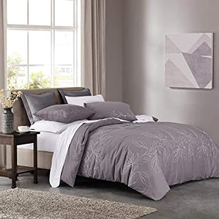 HeyDreamy Leaf Embroidery 3-Piece Cotton Slub Duvet Cover Set, Pre-Washed with Hidden Zipper Closure Full/Queen Purple