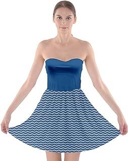 Womens Stylish Zigzag Pattern Tube Top Bra Strapless Dress,XS-3XL
