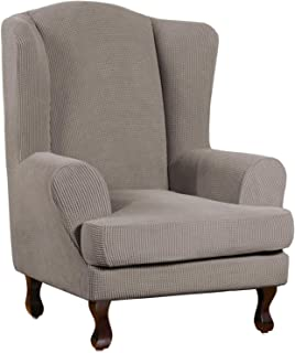 Stretch Wing Chair Slipcover Wingback Chair Slipcovers Sofa Covers 2-Piece Spandex Fabric Wing Back Wingback Armchair Chai...