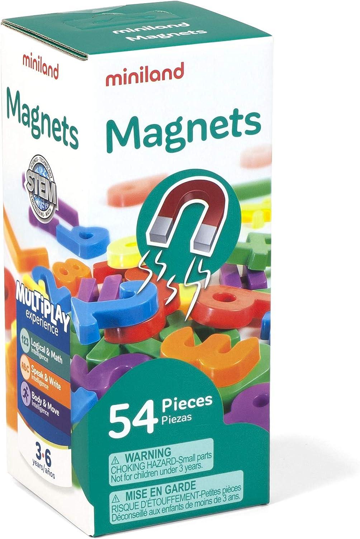 Miniland Números magnéticos 54 Piezas, Multicolor (45314) , Modelos/colores Surtidos, 1 Unidad