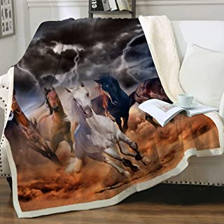 Sleepwish Galloping Horse Blanket Cowgirl Cowboy Western Fleece Blanket Plush Sherpa Throw Blanket for Couch Sofa (Throw 50